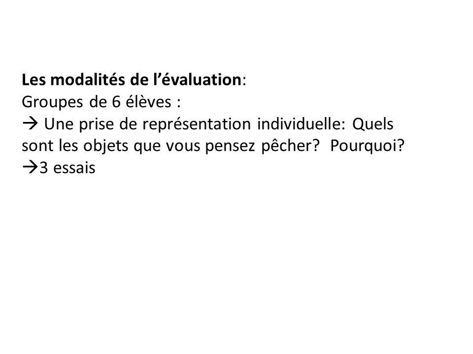 Les modalités de l'évaluation: