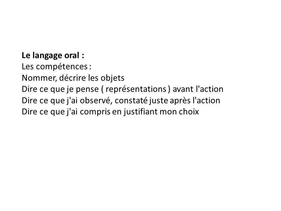 Le langage oral : Les compétences : Nommer, décrire les objets. Dire ce que je pense ( représentations ) avant l action.