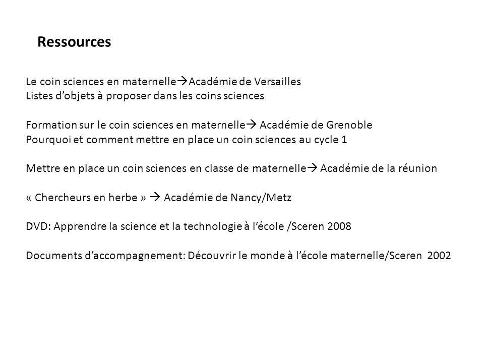 Ressources Le coin sciences en maternelleAcadémie de Versailles