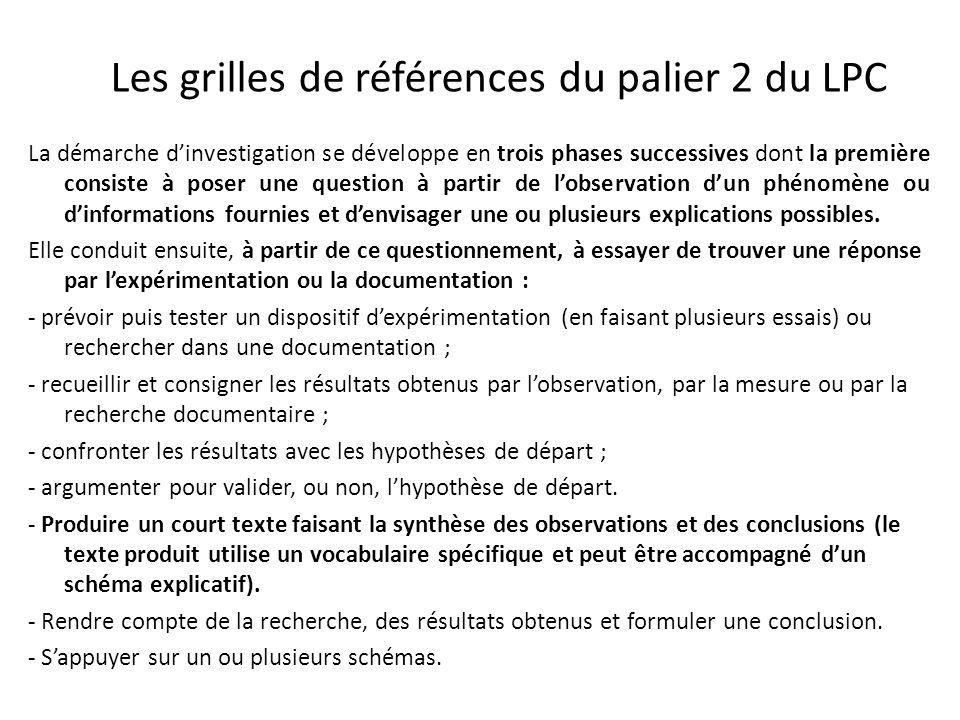 Les grilles de références du palier 2 du LPC