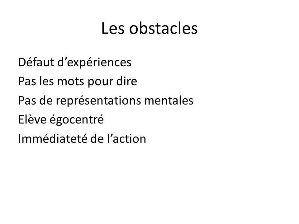 Les obstacles Défaut d'expériences Pas les mots pour dire Pas de représentations mentales Elève égocentré Immédiateté de l'action