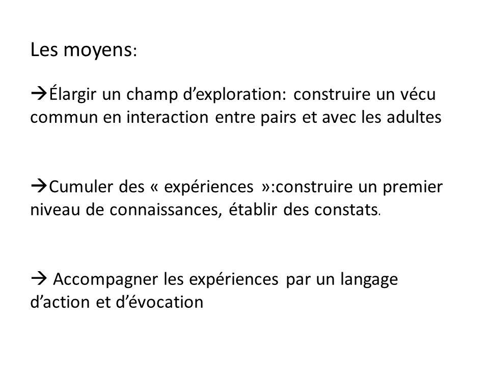 Les moyens: Élargir un champ d'exploration: construire un vécu commun en interaction entre pairs et avec les adultes.