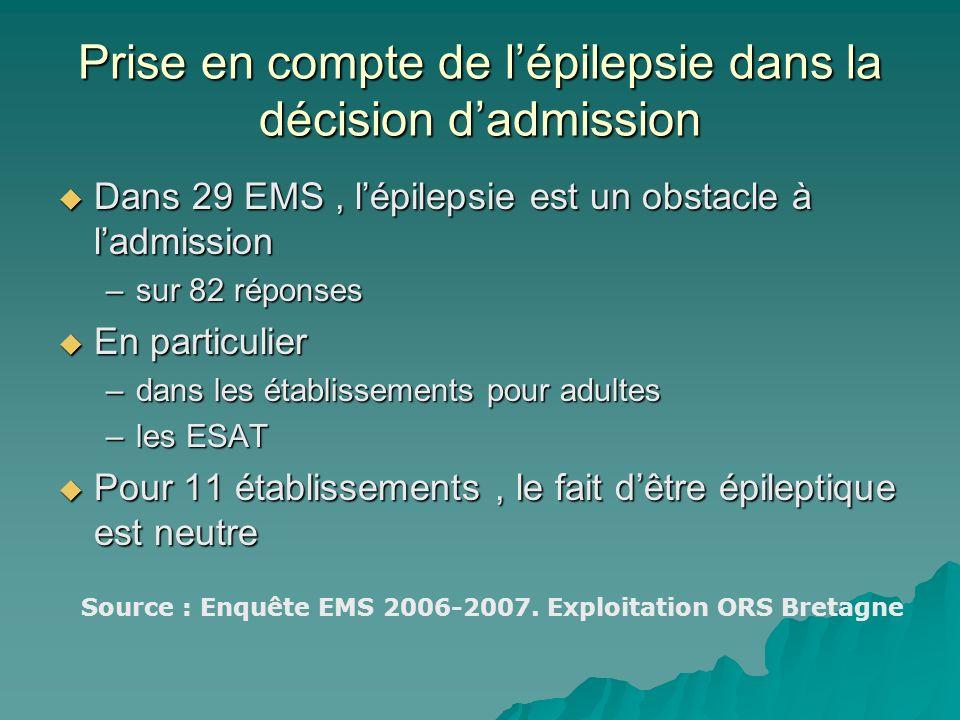 Prise en compte de l'épilepsie dans la décision d'admission