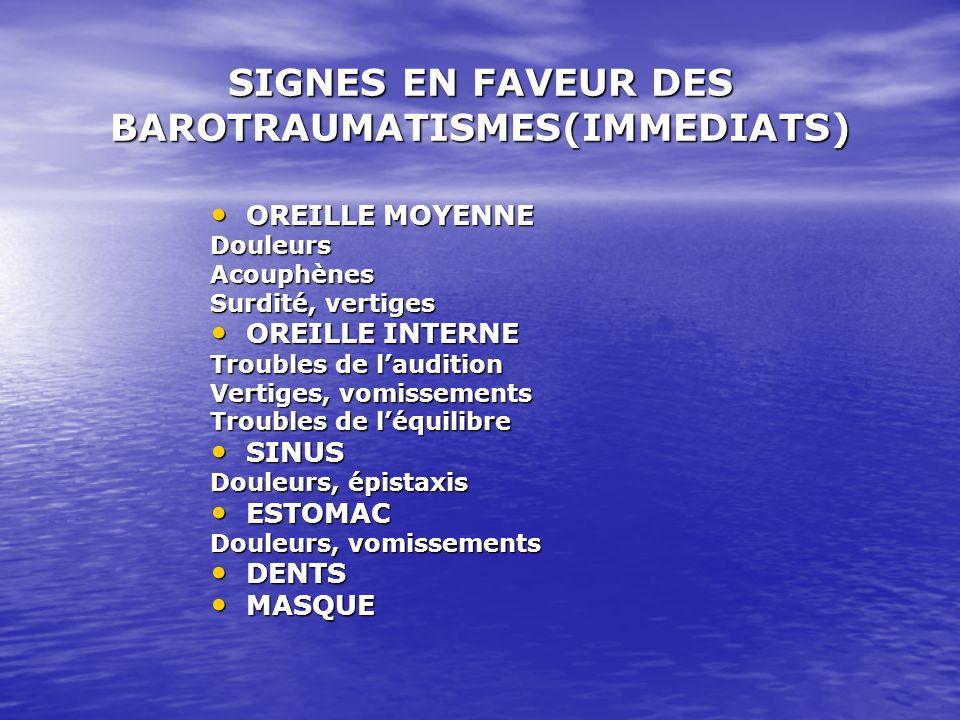 SIGNES EN FAVEUR DES BAROTRAUMATISMES(IMMEDIATS)