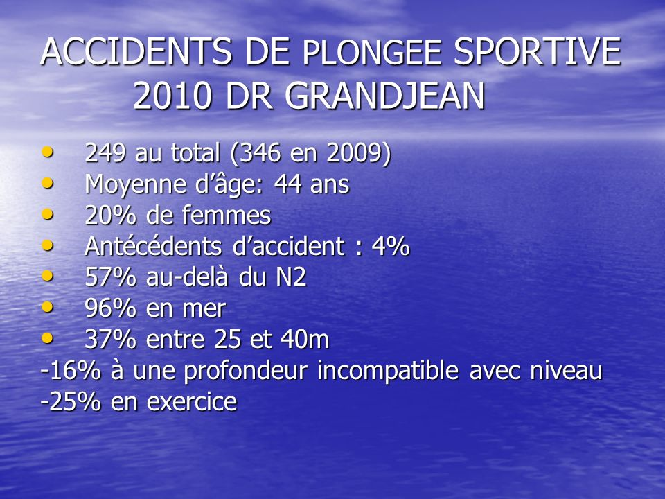 ACCIDENTS DE PLONGEE SPORTIVE 2010 DR GRANDJEAN