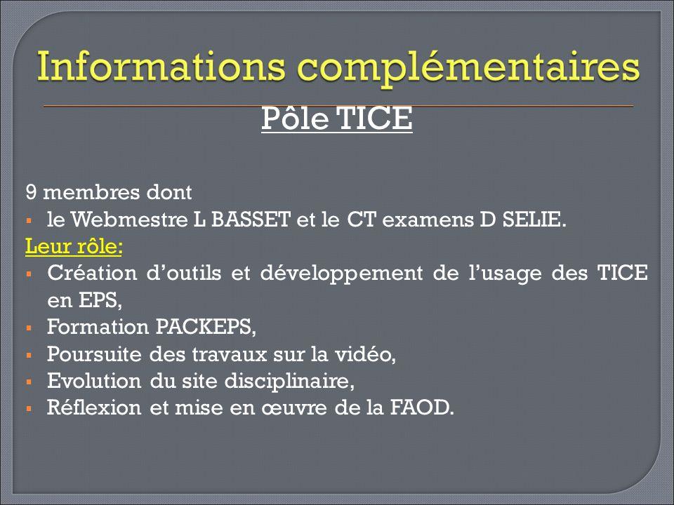 Pôle TICE 9 membres dont. le Webmestre L BASSET et le CT examens D SELIE. Leur rôle: