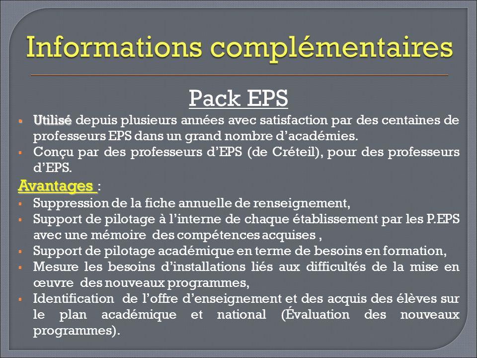 Pack EPS Utilisé depuis plusieurs années avec satisfaction par des centaines de professeurs EPS dans un grand nombre d'académies.