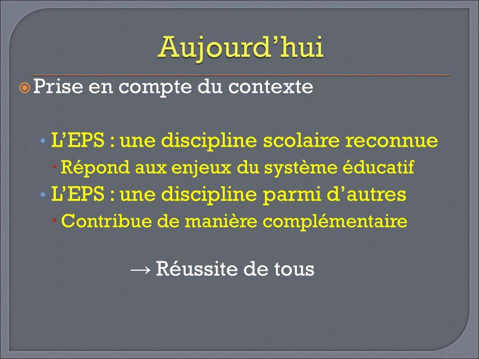 Prise en compte du contexte L'EPS : une discipline scolaire reconnue
