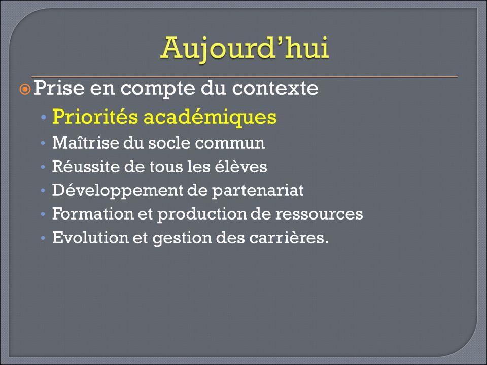 Prise en compte du contexte Priorités académiques