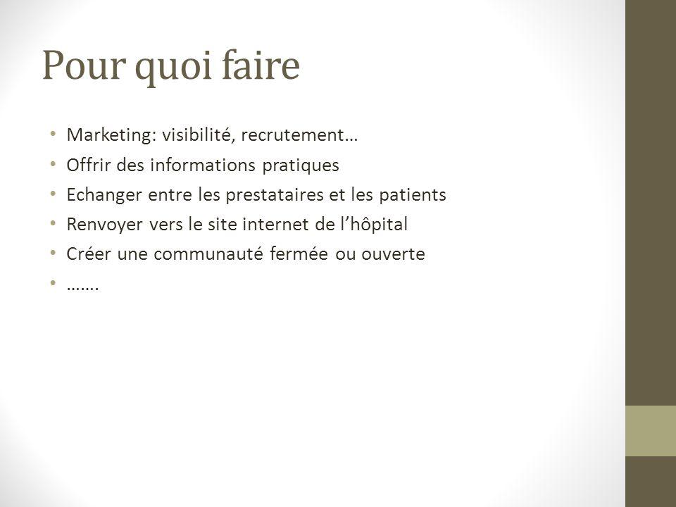 Pour quoi faire Marketing: visibilité, recrutement…