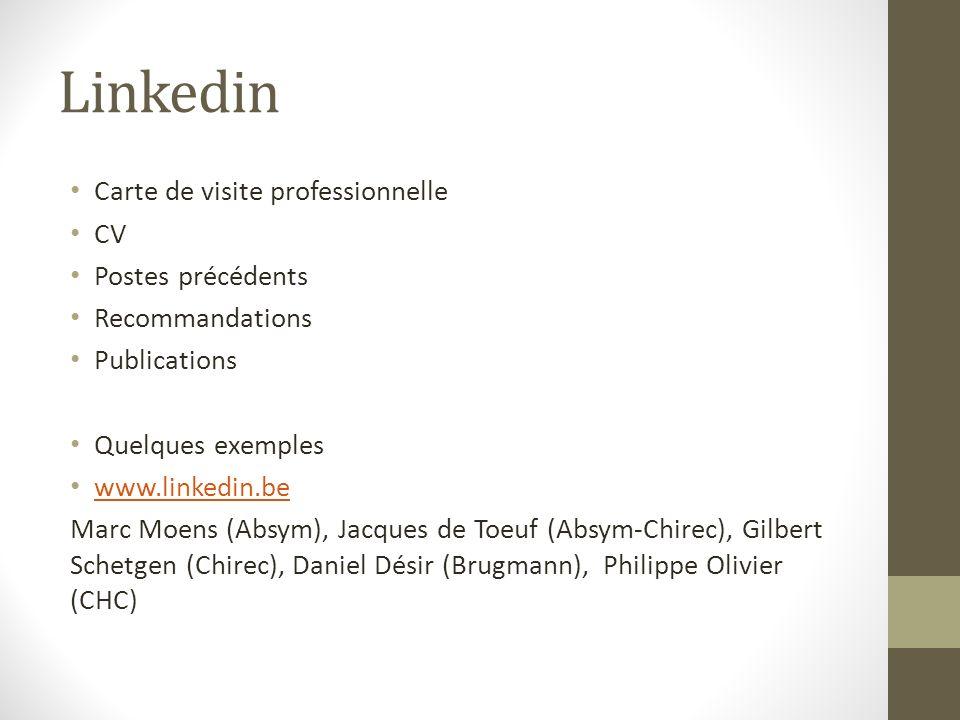 Linkedin Carte de visite professionnelle CV Postes précédents