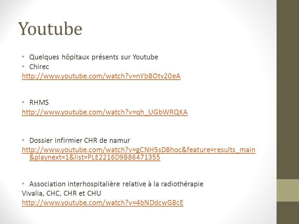 Youtube Quelques hôpitaux présents sur Youtube Chirec