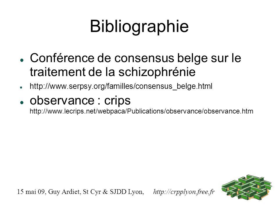 Bibliographie Conférence de consensus belge sur le traitement de la schizophrénie. http://www.serpsy.org/familles/consensus_belge.html.
