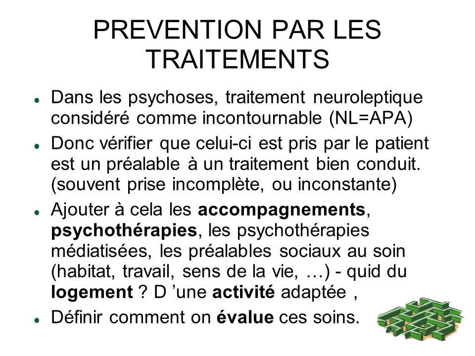 PREVENTION PAR LES TRAITEMENTS