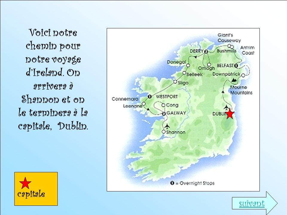 Voici notre chemin pour notre voyage d'Ireland