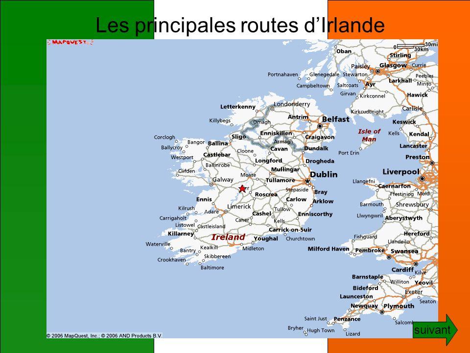Les principales routes d'Irlande
