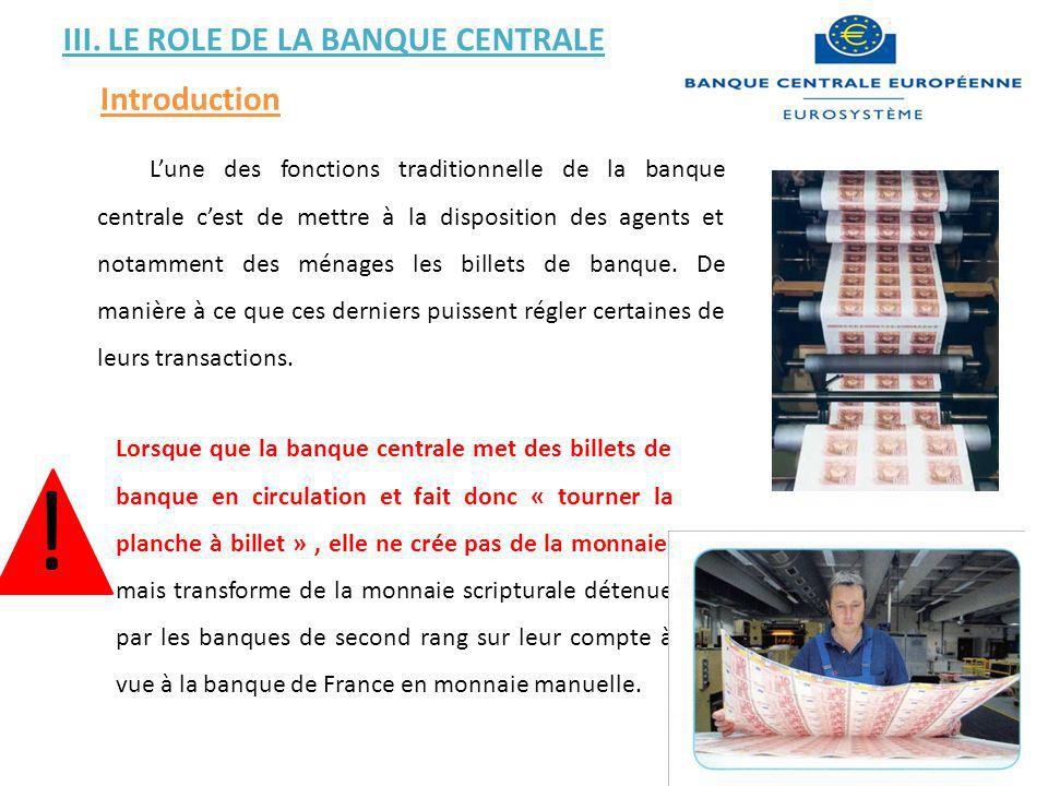 ! III. LE ROLE DE LA BANQUE CENTRALE Introduction