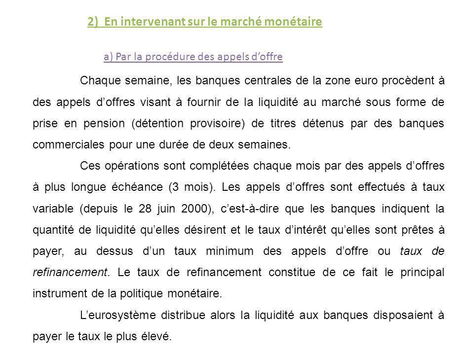 2) En intervenant sur le marché monétaire