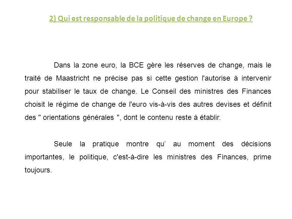 2) Qui est responsable de la politique de change en Europe