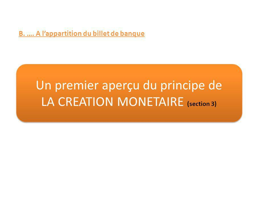 Un premier aperçu du principe de LA CREATION MONETAIRE (section 3)