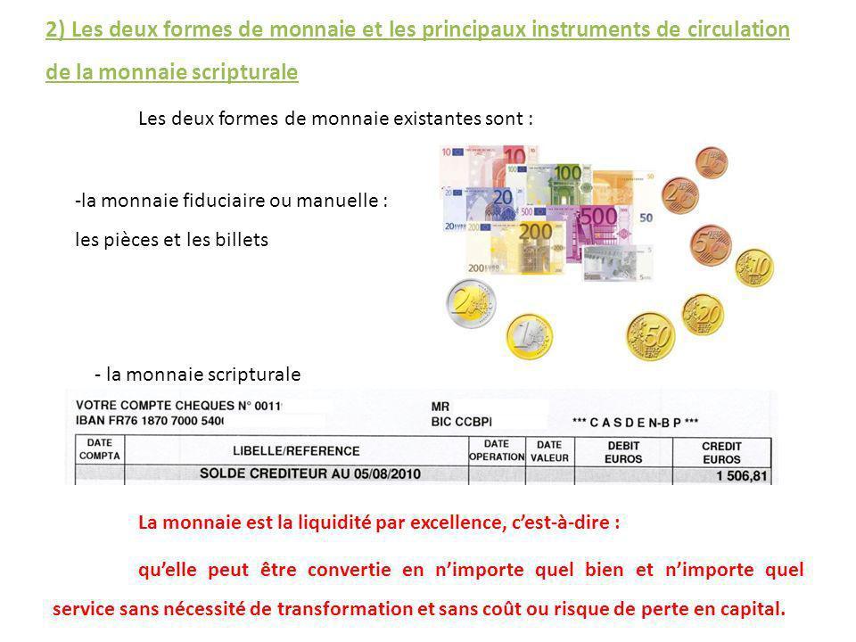 2) Les deux formes de monnaie et les principaux instruments de circulation de la monnaie scripturale