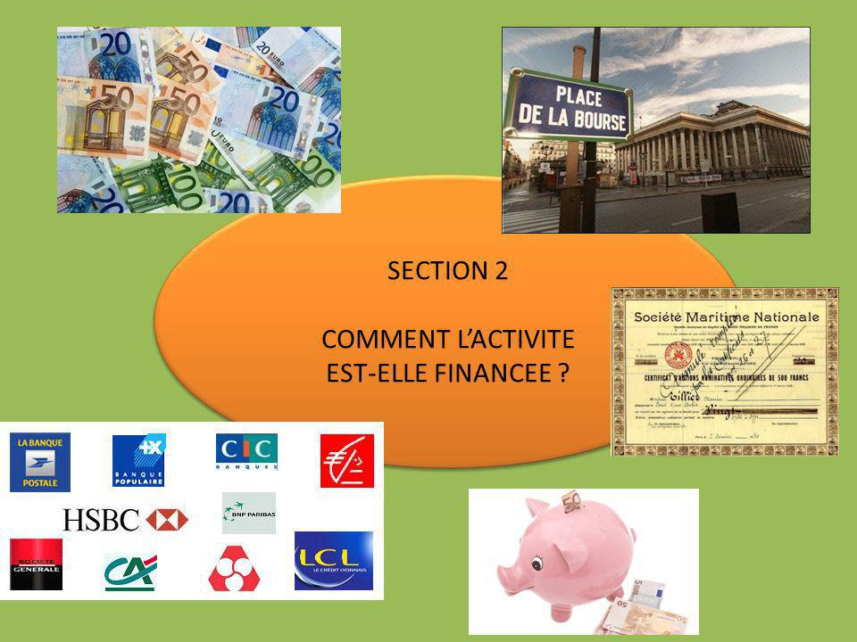 SECTION 2 COMMENT L'ACTIVITE EST-ELLE FINANCEE