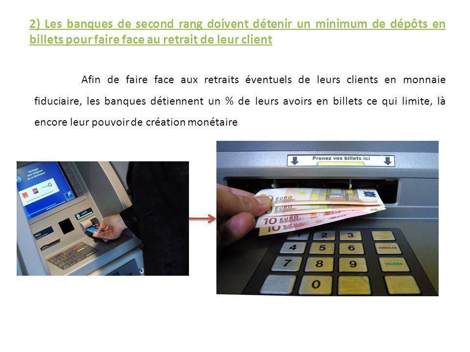 2) Les banques de second rang doivent détenir un minimum de dépôts en billets pour faire face au retrait de leur client