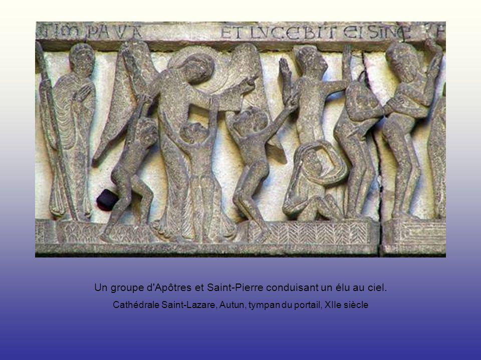 Un groupe d Apôtres et Saint-Pierre conduisant un élu au ciel.