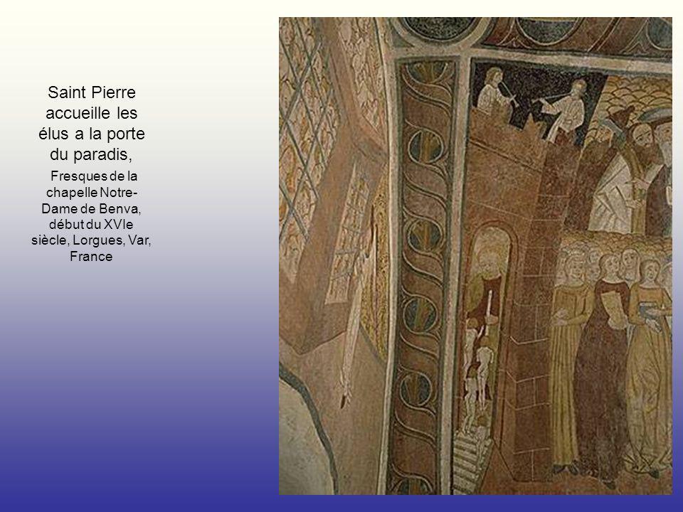 Saint Pierre accueille les élus a la porte du paradis, Fresques de la chapelle Notre-Dame de Benva, début du XVIe siècle, Lorgues, Var, France