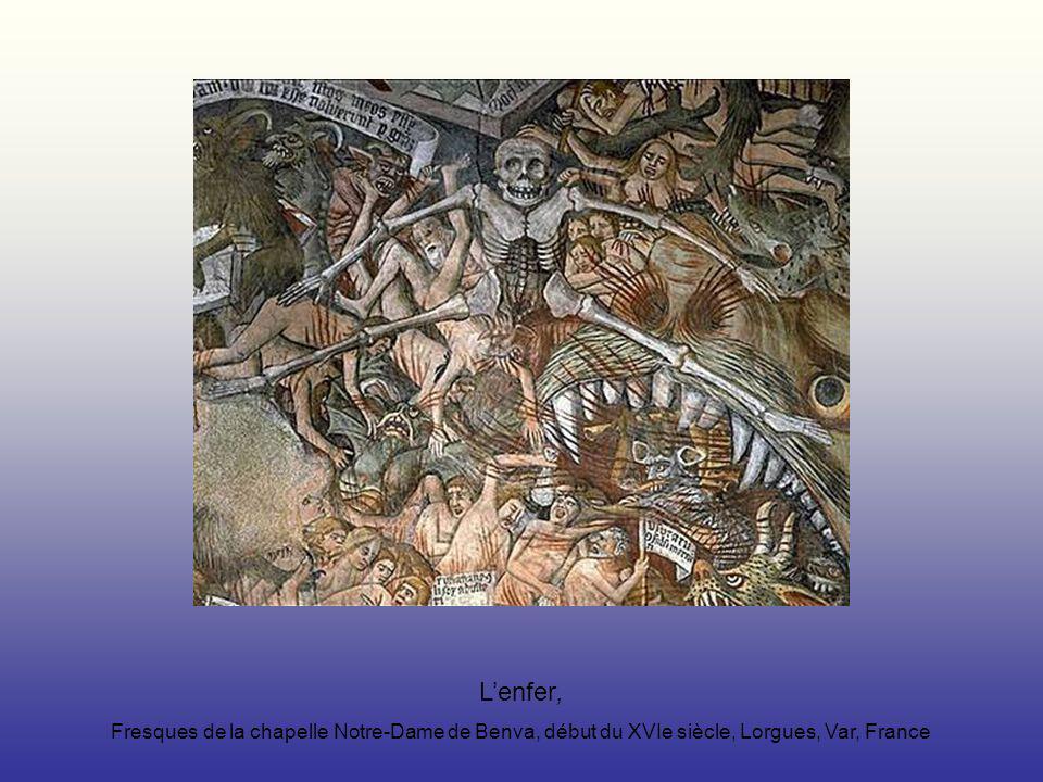 L'enfer, Fresques de la chapelle Notre-Dame de Benva, début du XVIe siècle, Lorgues, Var, France