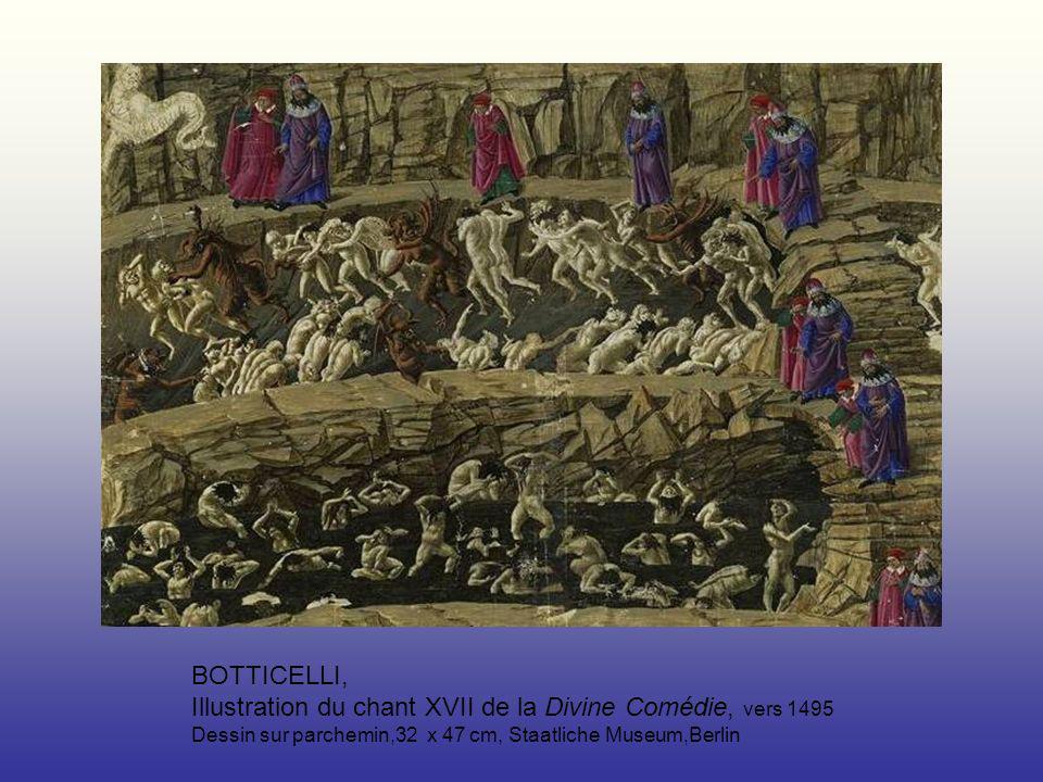 BOTTICELLI, Illustration du chant XVII de la Divine Comédie, vers 1495 Dessin sur parchemin,32 x 47 cm, Staatliche Museum,Berlin