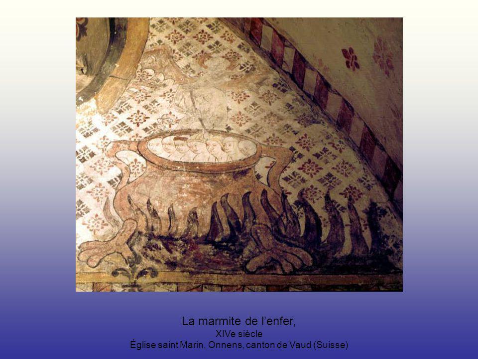 La marmite de l'enfer, XIVe siècle Église saint Marin, Onnens, canton de Vaud (Suisse)