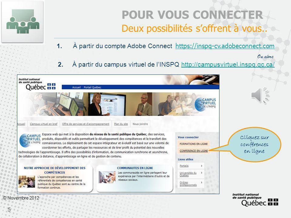 Cliquez sur conférences en ligne