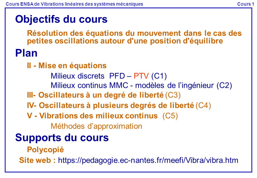 Site web : https://pedagogie.ec-nantes.fr/meefi/Vibra/vibra.htm