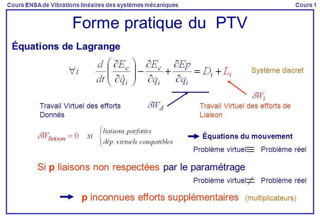 Forme pratique du PTV Équations de Lagrange