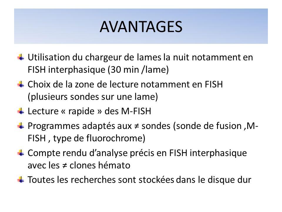 AVANTAGES Utilisation du chargeur de lames la nuit notamment en FISH interphasique (30 min /lame)