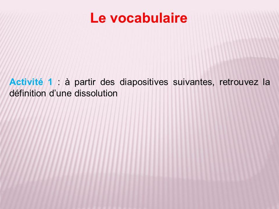 Le vocabulaire Activité 1 : à partir des diapositives suivantes, retrouvez la définition d'une dissolution.