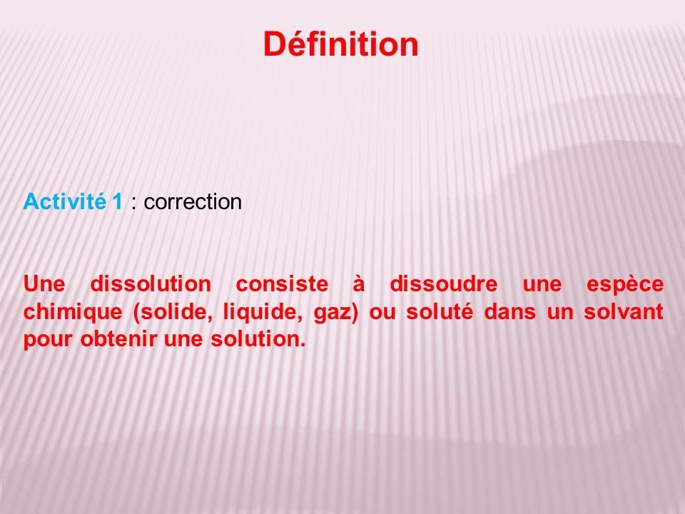 Définition Activité 1 : correction