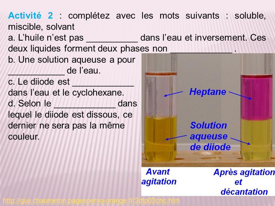 b. Une solution aqueuse a pour ___________ de l'eau.