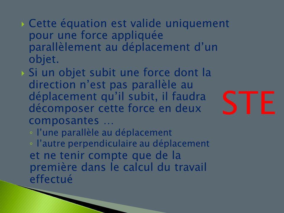 Cette équation est valide uniquement pour une force appliquée parallèlement au déplacement d'un objet.
