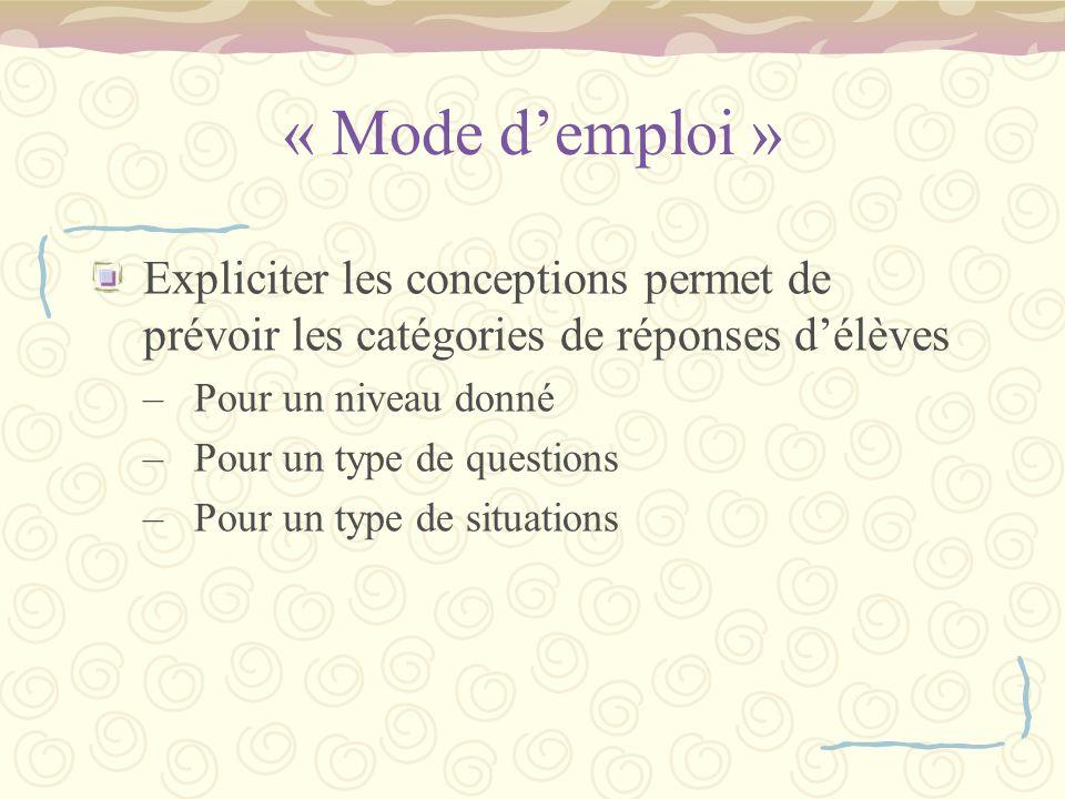 « Mode d'emploi » Expliciter les conceptions permet de prévoir les catégories de réponses d'élèves.