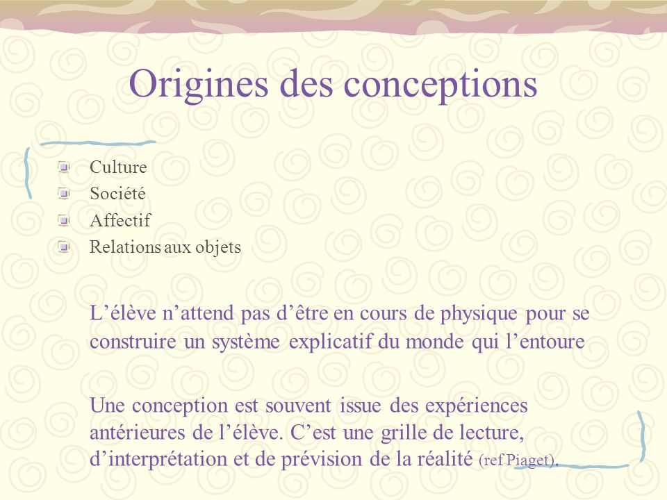 Origines des conceptions