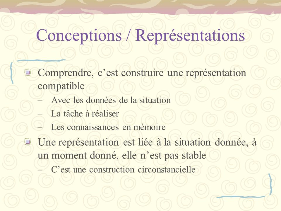 Conceptions / Représentations