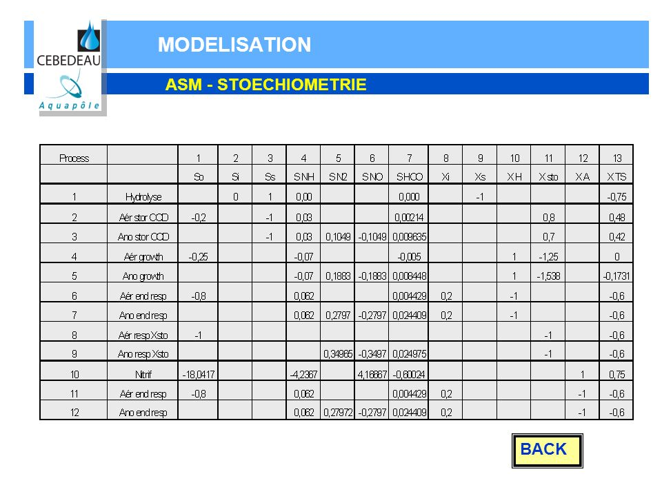 MODELISATION ASM - STOECHIOMETRIE BACK