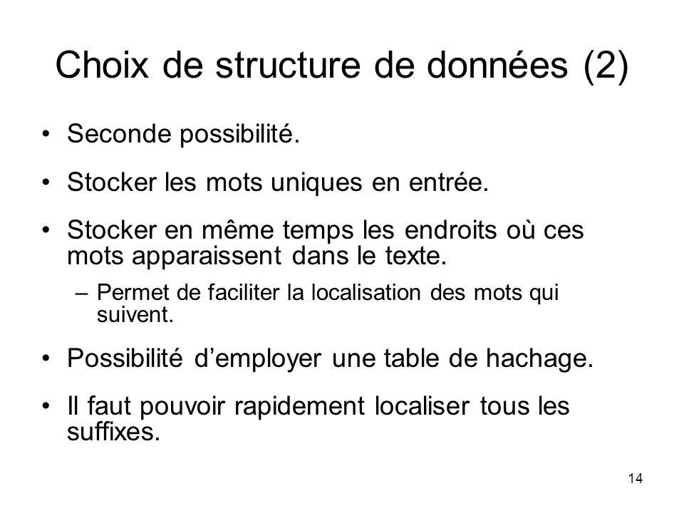 Choix de structure de données (2)