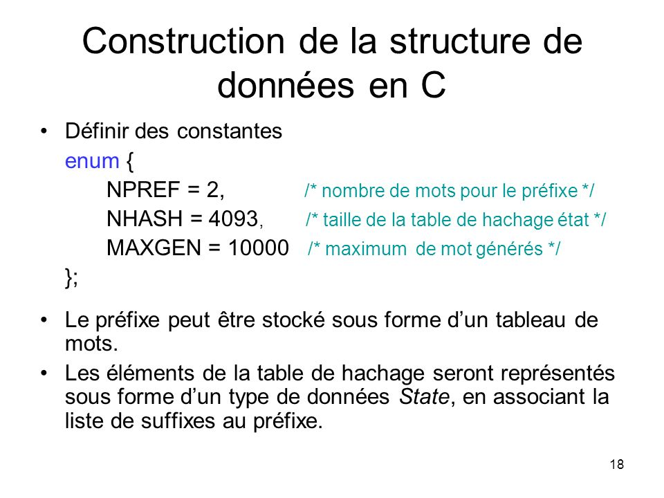 Construction de la structure de données en C