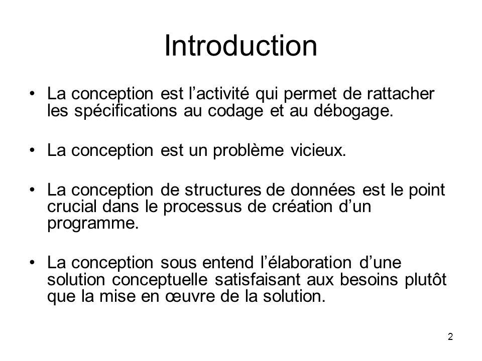 Introduction La conception est l'activité qui permet de rattacher les spécifications au codage et au débogage.