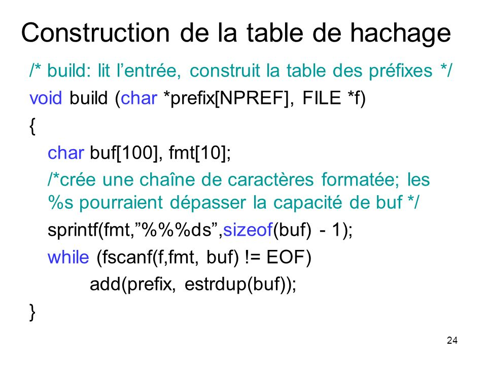 Construction de la table de hachage