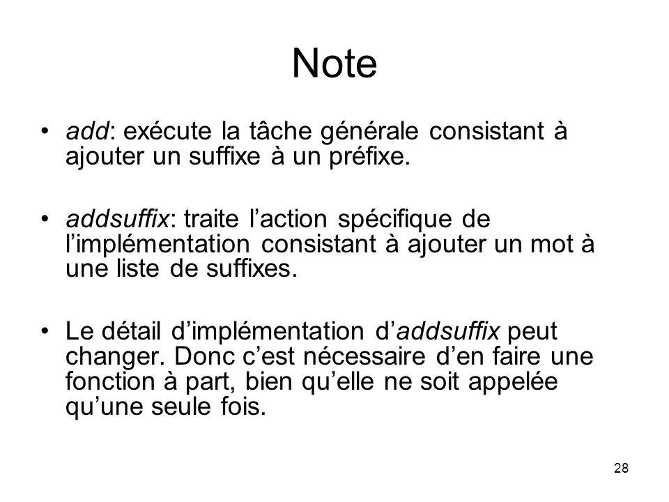 Note add: exécute la tâche générale consistant à ajouter un suffixe à un préfixe.