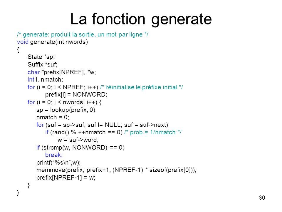 La fonction generate /* generate: produit la sortie, un mot par ligne */ void generate(int nwords)